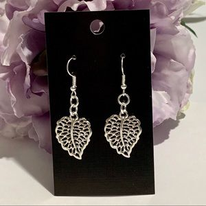 Beautiful Silver Leaf Hollow Carved Earrings
